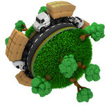 Road around a grassy globe Royalty Free Stock Image