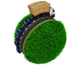 Road around a grassy globe Stock Images