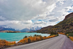 The road around the lake Pehoe Royalty Free Stock Image