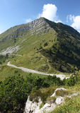 Road around Tremalzo mountain in Italy. Tremalzo mountain in Italy with mountain biking trail Stock Images