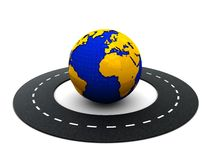 Road around world. 3d illustration of road around the earth on white background Stock Images
