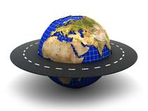 Road around world. 3d illustration of road around earth over white background Royalty Free Stock Image
