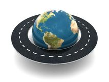 Road around world. 3d illustration of road around earth globe Royalty Free Stock Photo