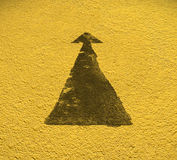 Road arrow direction with Yellow floor background. With Clipping Royalty Free Stock Image