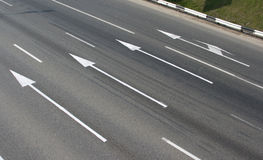Road arrows 1. Arrow signs on a highway automobile roads Royalty Free Stock Photos