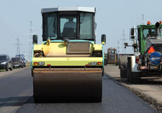 Road asphalt roller at a road construction site Royalty Free Stock Image