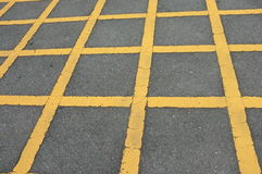 Road asphalt  texture with  lines yellow  pattern Stock Photos