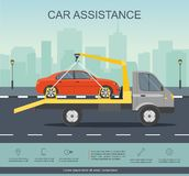 Road assistance. Car evacuator drive with red car on the road. royalty free illustration