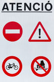 Road Attention signs. Four Attention signs on road sign board stock images