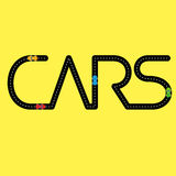 Road with automobiles in the form of word 'Cars' Royalty Free Stock Images
