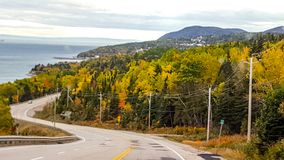On the road, autumn colors, Tadoussac Quebec Stock Images