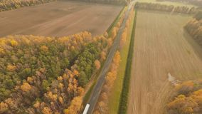 Road in the autumn forest aerial view with a passing truck.. Russia. Road in the autumn forest aerial view with a passing truck.. Russia stock video