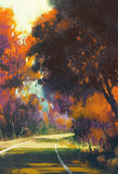 Road in autumn forest stock illustration