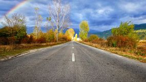Road with autumn leafs stock photo