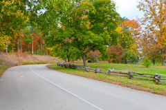 Road in autumn park. Royalty Free Stock Photography