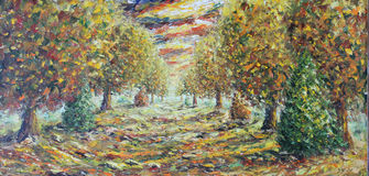 Road in the autumn park, oil painting Royalty Free Stock Images