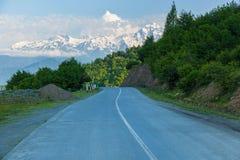 Road to Mestia Ushguli village Georgia stock images