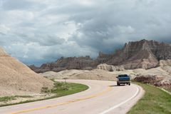 Road through the Badlands National Park Royalty Free Stock Image