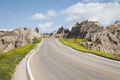 On the road. In Badlands National Park, South Dakota, USA royalty free stock image