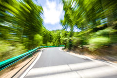 Road through the bamboo forest, motion blur Royalty Free Stock Images