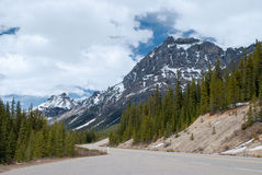 Road through Banff National Park, Canada. Road through Banff National Park, Alberta, Canada. Canadian Rocky Mountains, fir trees, and cloudy sky. Spring Stock Photography