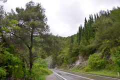 The road Bar-Podgorica, Montenegro. The road Bar-Podgorica (E 65 - E 80) among the rocks and trees in the rain, Montenegro Royalty Free Stock Photos