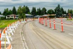 Road barricade. Light rail transport construction in the city of Edmonton road barricade royalty free stock photos
