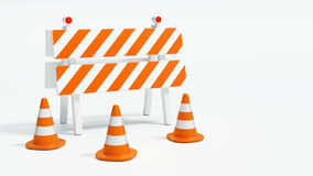 Road barrier with road cones on white background 3d illustration. Road barrier with road cones on white background with copy space 3d illustration Royalty Free Stock Images