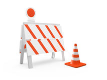 Road Barrier and Traffic Cone Royalty Free Stock Photo