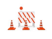 Road Barrier and Traffic Cones Stock Photos