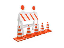 Road Barrier and Traffic Cones Royalty Free Stock Photo