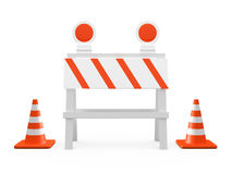 Road Barrier and Traffic Cones Royalty Free Stock Image