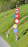 Road barrier and traffic signs Stock Images