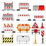 Road barrier vector street traffic-barrier under construction warning roadblock blocks on highway illustration set of stock illustration