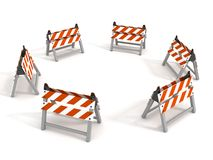 Road barriers around circle on white background Royalty Free Stock Images