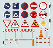Road barriers and signs. Isometric detailed icon set, vector graphic illustration design Royalty Free Stock Images