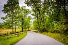 Road through battlefields at Gettysburg, Pennsylvania. Royalty Free Stock Photo