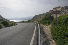Road with bay view on Formentor peninsula Stock Photos