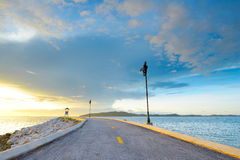 Road on the beach in Rayong, THAILAND Royalty Free Stock Images