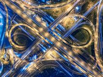 Road beautiful Aerial View of Busy Intersection at Night , top v Stock Photo