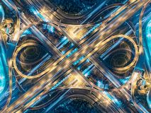 Road beautiful Aerial View of Busy Intersection at Night , top v Royalty Free Stock Images