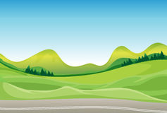 A road and a beautiful landscape. Illustration of a road and a beautiful landscape Stock Image