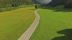 Road On Beautiful Mountain Valley In Slovenia At Summer stock footage