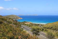 Road with beautiful seaview at Wilsons Promontory National Park Stock Photos