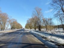 Road and beautiful winter  trees, Lithuania Stock Image