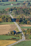 The Road Below. Aerial View While Flying In A Hot Air Balloon Just Outside Of Letchworth State Park In Central New York State Royalty Free Stock Images