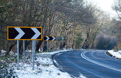 Road Bend Direction Right Signs Royalty Free Stock Images