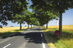Road and bicycle in France Stock Photo