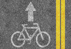 Road with bicycle lane. Mark and two yellow lines Stock Image