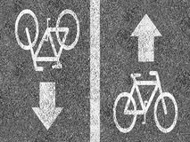 Road with bicycle lanes. Road with two bicycle lanes Royalty Free Stock Photo
